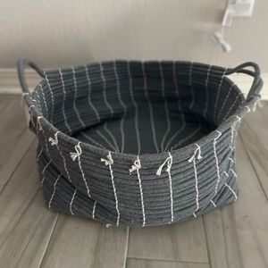 NWT grey fabric basket with white tassels large